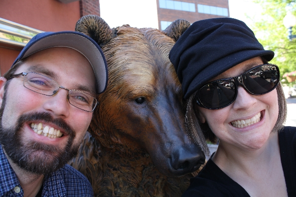 You have also seen this picture of us with a grizzly bear statue.