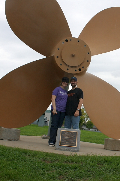 Today we only took two self-portraits, because mostly we were driving home. But we did stop at the USS South Dakota museum. As you can see, there is a big propeller.